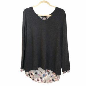 NYDJ grey with floral underlay 5% cashmere top S